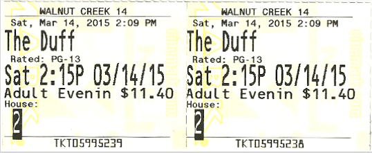 The Duff Ticket Stub